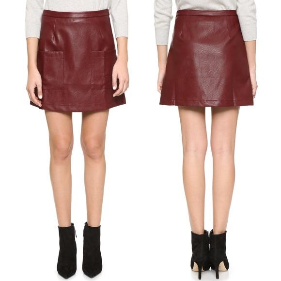 MINKPINK Burgundy Faux Leather Mini Skirt